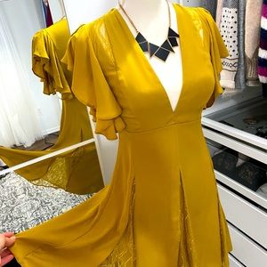 Mustard color deep v-neck mini dress ASOS 4